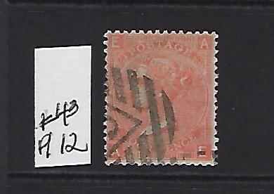 GREAT BRITAIN SCOTT #43 (PLATE 12)-1865 4P (VERMILION) - WMK 23 - USED