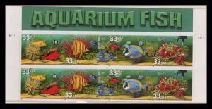 Aquarium Fish 33¢ PLATE BLOCK Of 10 MNH With Header (pb1l)