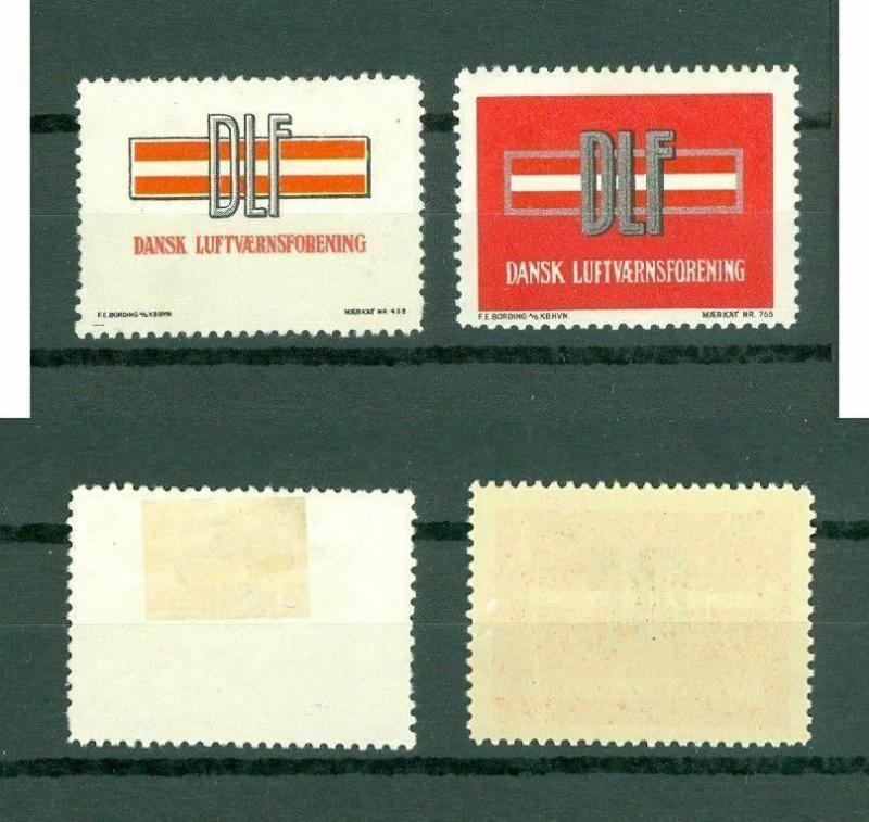 Denmark. 2 Poster Stamp, 1940es. DLF. Danish Air Defense Association