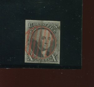 2 Washington Used Stamp with Nice Red Cancel (Bx 387)
