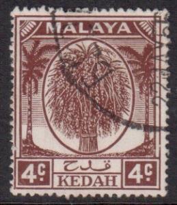 Malaya Kedah Scott 64 - SG79, 1950 Wheatsheaf 4c used