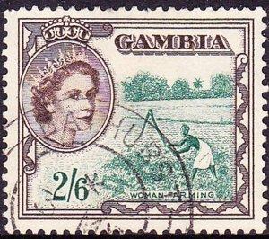 GAMBIA 1953 QEII.2/6s Deep Bluish Green & Sepia SG181 Used