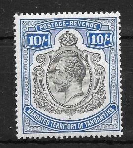 TANGANYIKA SG106 1927 10/= BLACK & DEEP BLUE MTD MINT