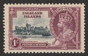 FALKLAND ISLANDS 1935 KGV Silver Jubilee 1/ VARIETY double flagstaff CERTIFICATE