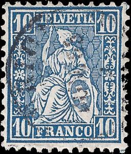 Switzerland 1862 Sc 44 uvf (copy 2) w/ free color variety copy