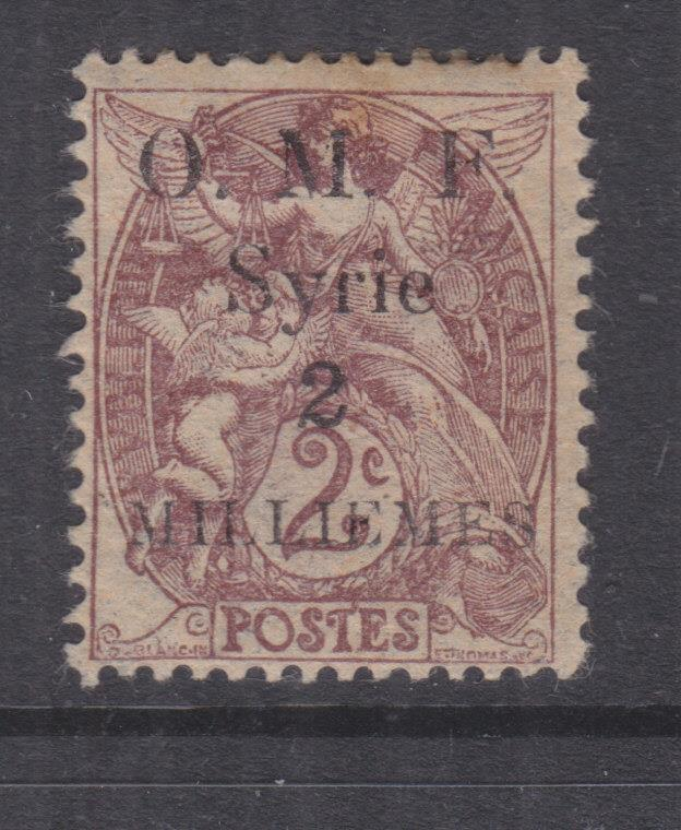 SYRIA, 1920 thin OMF 2m. on 2c. Claret, lhm.
