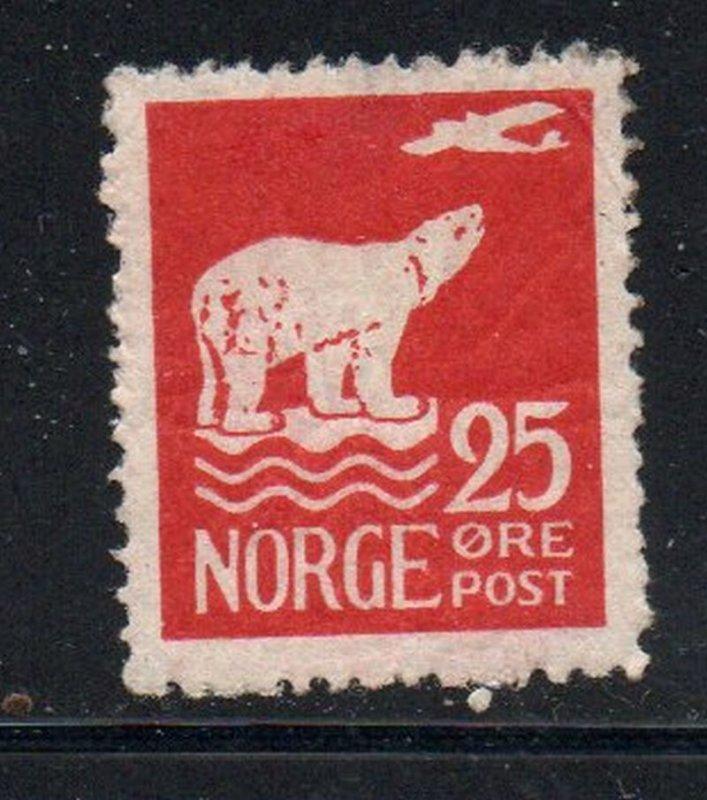 Norway Sc 110 1925 25 ore Polar Bear & airplane stamp mint