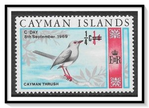 Cayman Islands #227 Thrush Surcharged MH