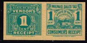 US TAX STAMP STATE OHIO 1C PREPAID SALES TAX PAID STAMP WITH RECEIPT PAIR