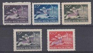 POLAND 1948 Centaur - 5 values mint overprinted GROSZY......................b247