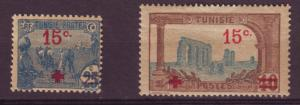 J13108 JLstamps 1918 france tusisia mh/mhr #b13 small scn on back b15 ovpt,s