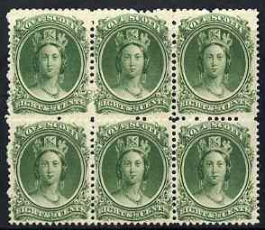 Nova Scotia 1863 QV 8.5c green block of 6 mounted mint (f...