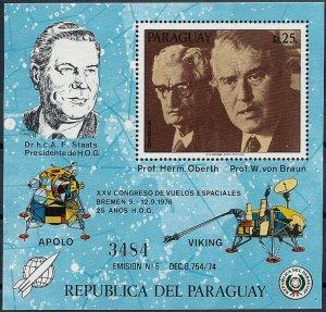 1976 Paraguay Oberth, von Braun, Apollo, Viking, Sheet Nr. 285, VFMNH, CAT 90$
