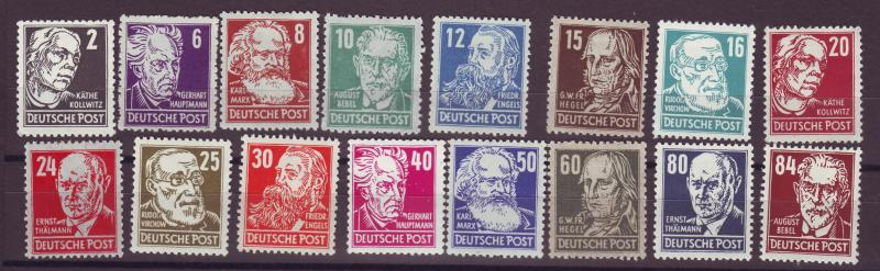 J14612 JLstamps 1948 germany DDR mh set #10n29-44 famous people