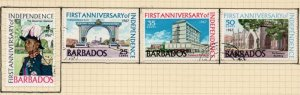 Barbados Sc 298-301 1967 1st Anniversary Independence stamp set used
