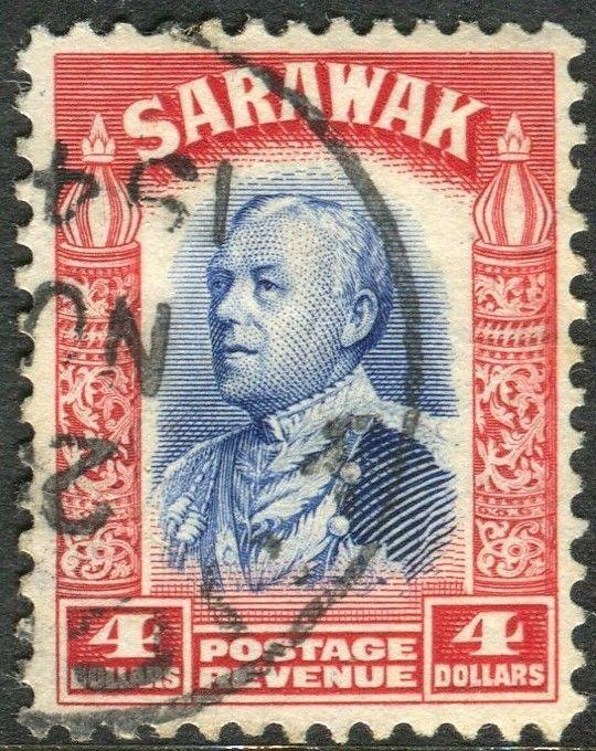 SARAWAK-1934-41 $4 Blue & Scarlet.  A fine used example Sg 123