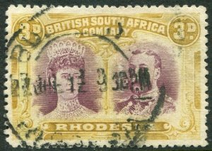 RHODESIA-1910-13 3d Purple & Yellow-Ochre Sg 135 GOOD USED V48374