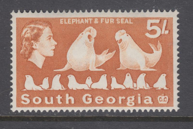 South Georgia Sc 13 MLH. 1963 5sh ochre QEII and Elephant Seals, F-VF.