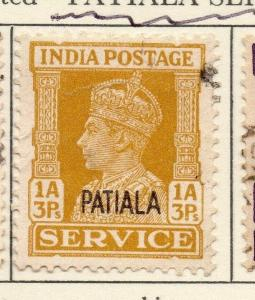 Patiala 1940-45 Early Issue Fine Used 1a.3p. Optd Patiala Service 029243