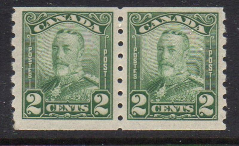 Canada Sc 161 1929 2 c G V scroll issue coil stamp pair mint NH