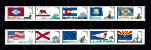 USA PNC SC#4273-4282 STATES FLAGS $0.42c PL# S111111111-2 PNC5 SELF ADHESIVE-MNH
