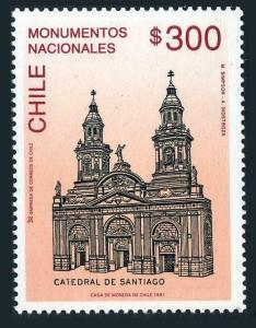 Chile 957,MNH.Michel 1427. Santiago Cathedral,1991.