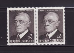 Austria 787 Pair Set MNH Dr Karl Schonherr, Poet (C)