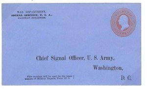 USA MILITARY OFFICIAL *War Department* Postal Stationery Env SIGNALS  1890s L161