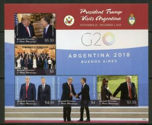 GRENADA GRENADINES  2019 PRESIDENT TRUMP VISITS ARGENTINA  SHEET  MINT NH