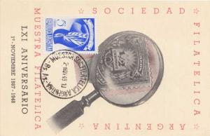 Argentina 5c Cap of Liberty 1948 Mustra Soc. Filatelica Argentina - Bs.As. on...