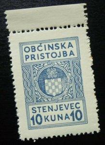 Croatia c1943 Local NDH Revenue WWII Stamp STENJEVEC 10 Kuna  C1