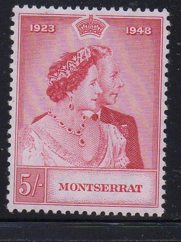 Montserrat Sc 107 1949 5/  G VI Silver Wedding stamp mint