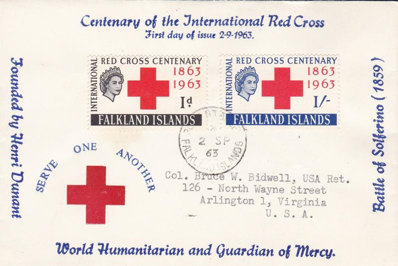 Falkland Islands 1963 Scott 147-148 Red Cross Centenary First Day Cover  Cachet