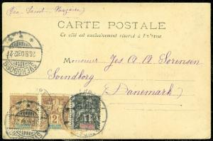 EDW1949SELL : GUADELOUPE  Nice 1909 Post Card to Germany.