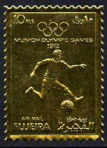 Fujeira 1972 Munich Olympic Games perf 10r Football embos...