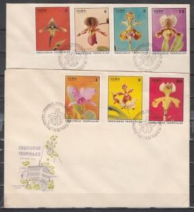Caribbean Area, Scott cat. 1620-1626. Orchids issue. 2 Large First Day Covers.