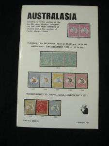 ROBSON LOWE AUCTION CATALOGUE 1978 AUSTRALASIA with 'HEYDON' & 'HIGH' COLLECTION