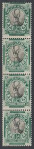 SOUTH AFRICA 1930 SPRINGBOK 1/2D  SE -TENANT VARIETY STRIP