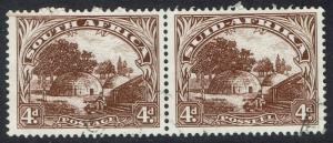 SOUTH AFRICA 1947 NATIVE KRAAL 4D PAIR HYPHENATED PRINTING USED