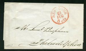 UNITED STATES 1837  NEW YORK RED 5 CTS   STAMPLESS  COVER TO PHILADELPHIA