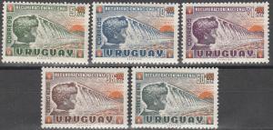Uruguay #B5-7, CB1-2  MNH F-VF  (V1057L)