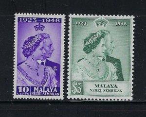 MALAYA NEGRI SEMBILAN SCOTT#36-37  1948 GEORGE VI SILVER WEDDING MINT LIH