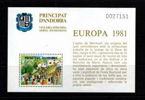 Andorra (French) 1981 Europa semi-official souvenir sheet VFMNH