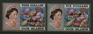 Cook Islands QEII 1978 overprinted OHMS $4 and $6 mint o.g. hinged