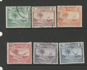 Maldive Islands 1950 6 Vals to 50c FU as shown