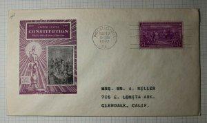 US FDC Sc# 798 Cachet Craft Philadelphia PA 1937 US Constitution