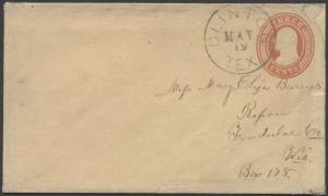 TEXAS DEWITT COUNTY (1859 Clinton) (With Letter) DPO 1849-1886