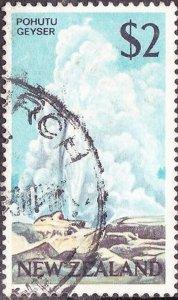 NEW ZEALAND 1968 $2 Pohutu Geyser Black, Ochre & Pale Blue SG879 Used