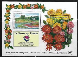 FRANCE 2444 MNH EUROPEAN STAMP EXPO, FLOWERS, SOUVENIR SHEET 1994