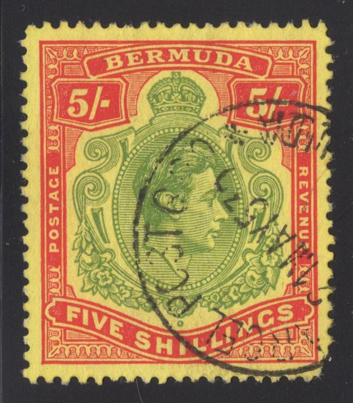 Bermuda #125 Red & Green, yellow - Dated Cancel